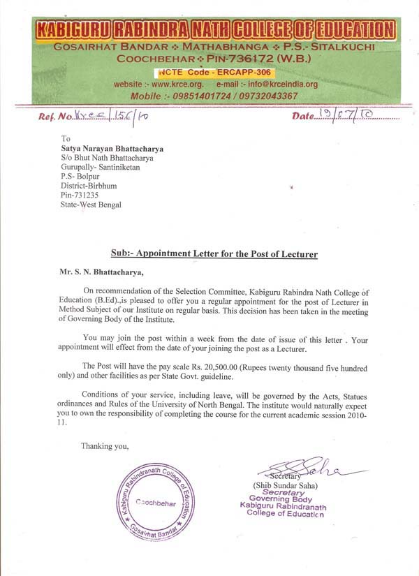 Appointment Letter Format India Pictures